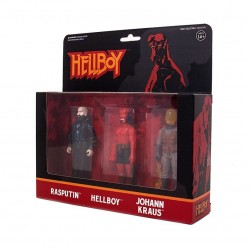 Hellboy ReAction pack 3 figurines Pack B Hellboy w/o horns, Rasputin, Johann Kraus 10 cm