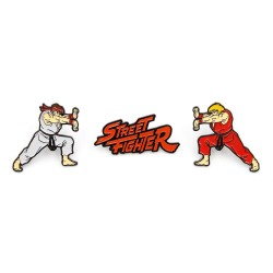 Street Fighter pack 3 pin's Ken, Ryu & Logo